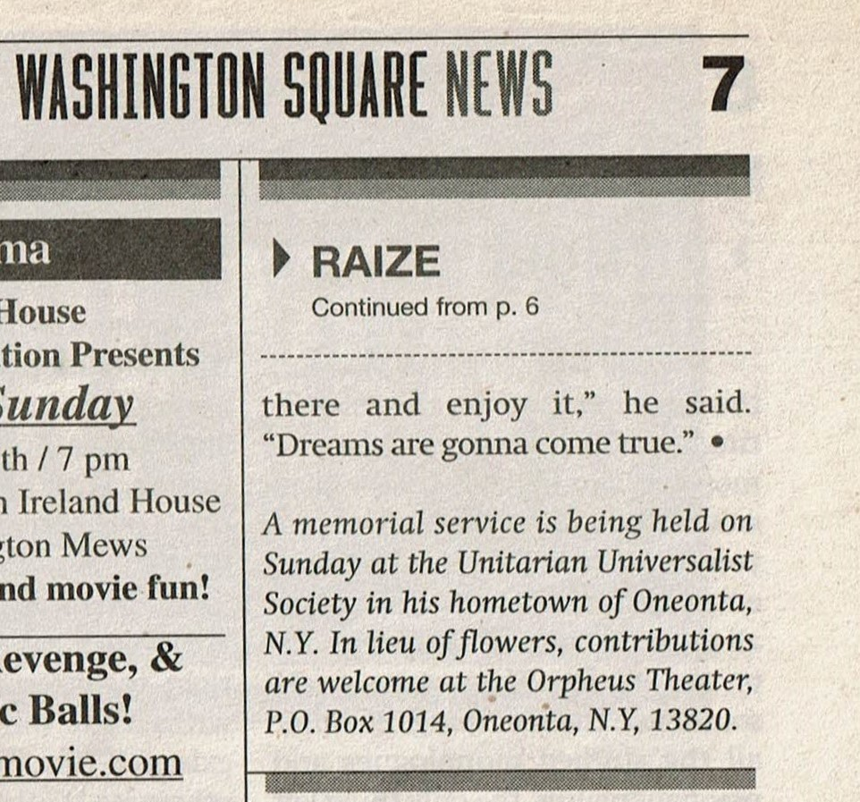 Meredith Lee's reflection on the passing of Jason Raize, published in NYU's Washington Square News, February 2004, continued